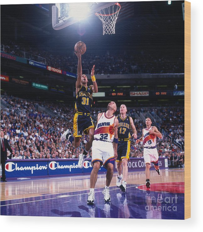 Nba Pro Basketball Wood Print featuring the photograph Reggie Miller and Jason Kidd by Sam Forencich