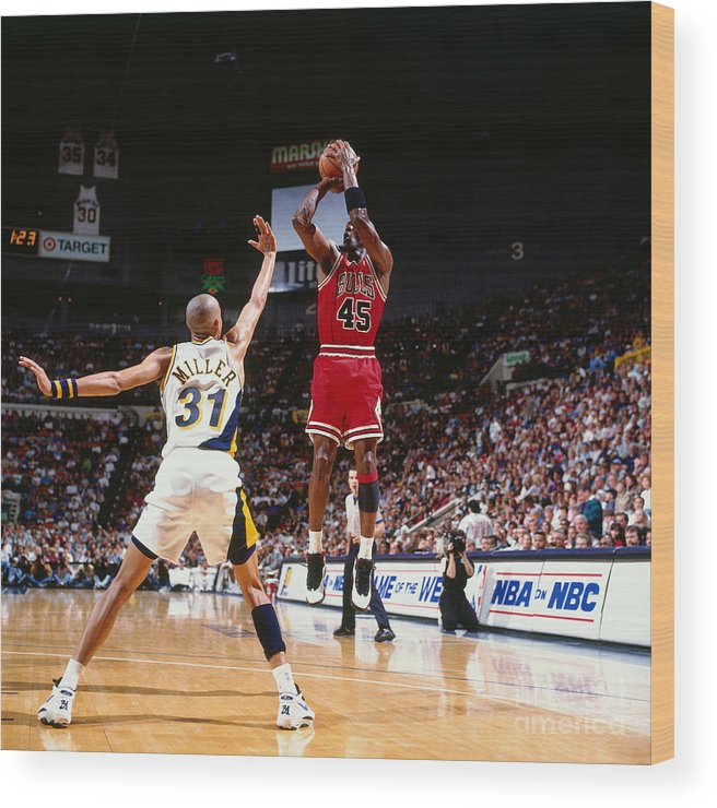 Nba Pro Basketball Wood Print featuring the photograph Reggie Miller and Michael Jordan by Nathaniel S. Butler