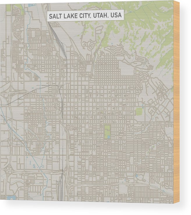 Downtown District Wood Print featuring the drawing Salt Lake City Utah US City Street Map by FrankRamspott