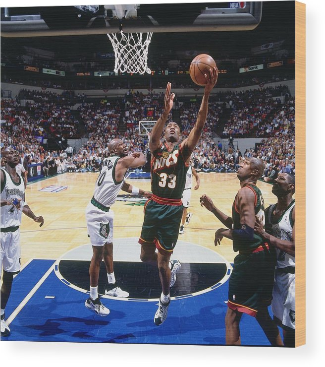 Nba Pro Basketball Wood Print featuring the photograph Terry Porter and Hersey Hawkins by Andy Hayt