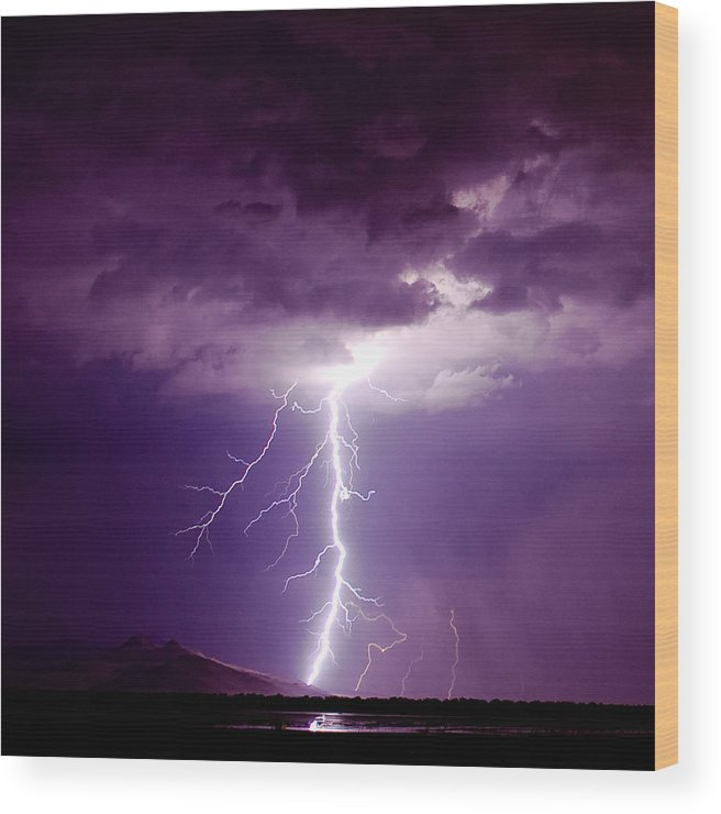Thunderstorm Wood Print featuring the photograph Thor's Hammer by Scott Stringham photographer