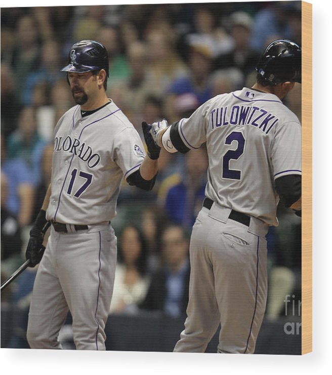 People Wood Print featuring the photograph Todd Helton and Troy Tulowitzki by Mike Mcginnis