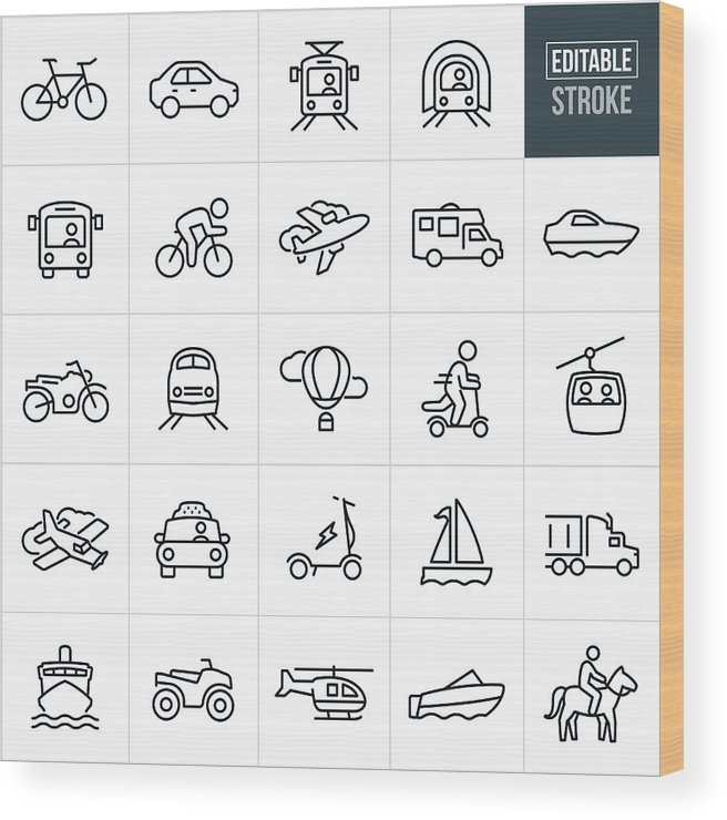 Horse Wood Print featuring the drawing Transportation Thin Line Icons - Editable Stroke by Appleuzr