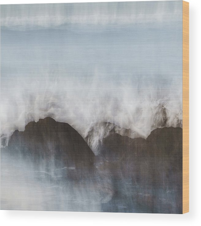 Abstract Wood Print featuring the photograph Wavecrash by Bear R Humphreys