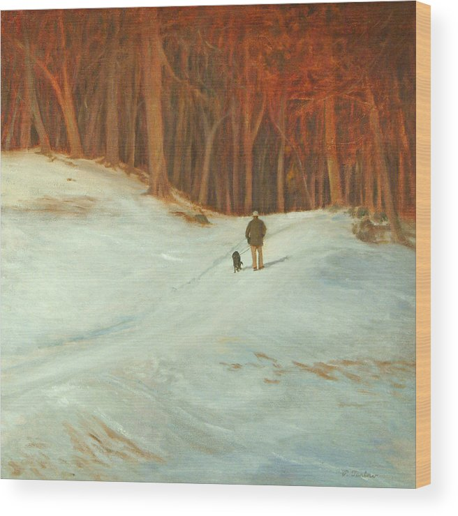 Landscape Wood Print featuring the painting Winter Walk with Dog by Phyllis Tarlow