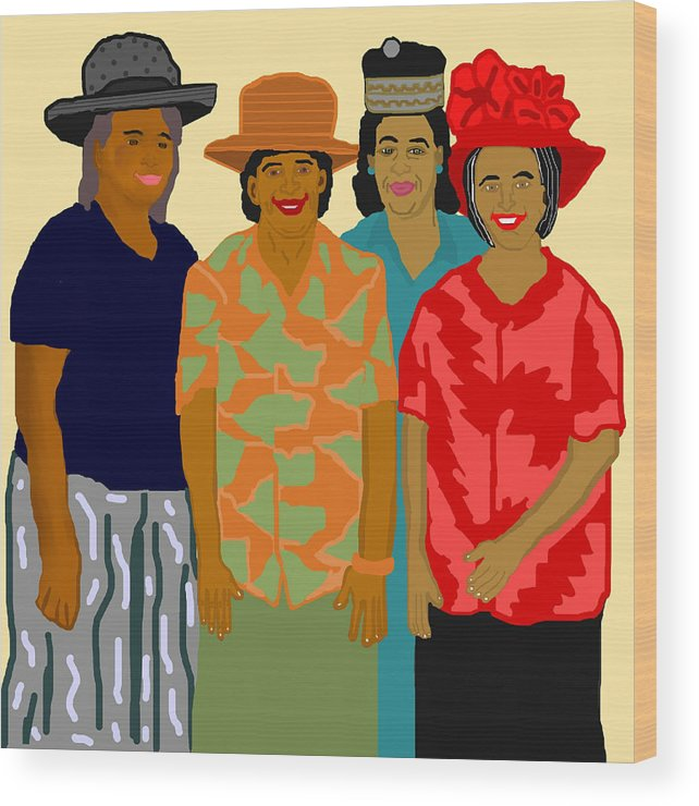Women Wood Print featuring the painting Women of the Church by Pharris Art