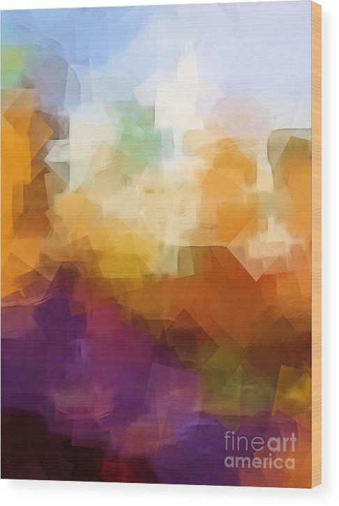 Abstract Cityscape Cubic Wood Print featuring the digital art Abstract Cityscape Cubic by Lutz Baar