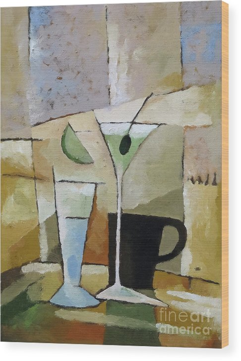 Cocktail Wood Print featuring the painting Martini by Lutz Baar