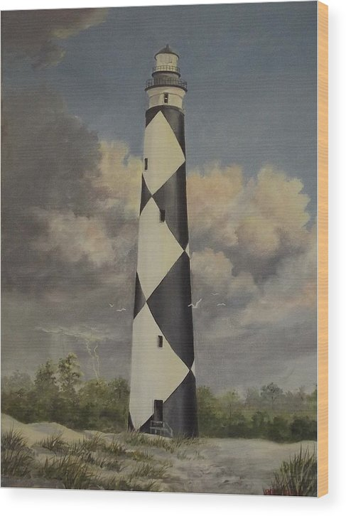Stormy Skys Wood Print featuring the painting Storm Over Cape Fear by Wanda Dansereau