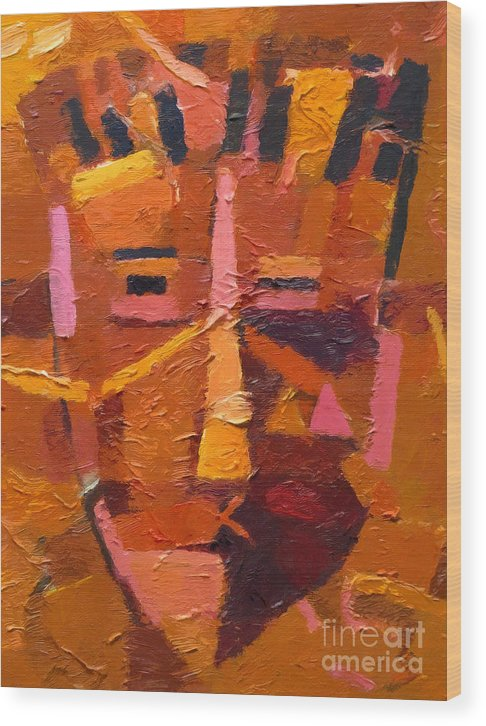 Mask Wood Print featuring the painting The Mask by Lutz Baar