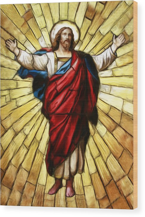 Jesus Christ Stained Glass Wood Print featuring the photograph Jesus Christ Stained Glass by Blake Richards