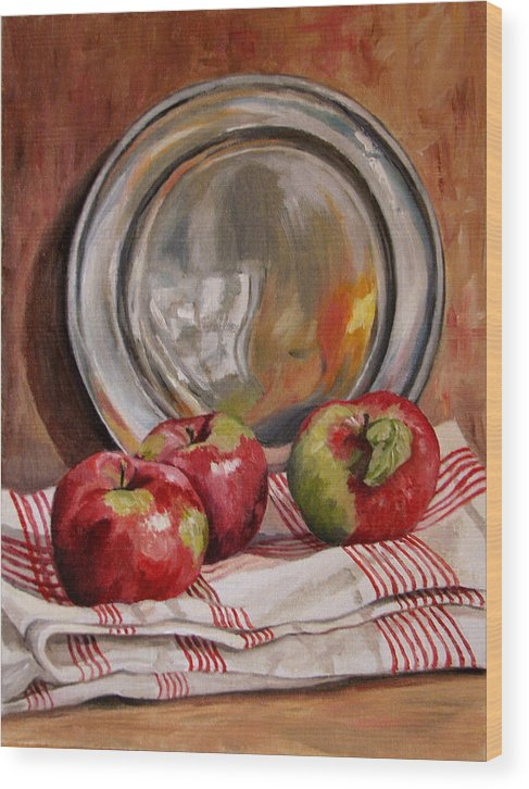 Apples Wood Print featuring the painting Apples And Pewter by Cheryl Pass