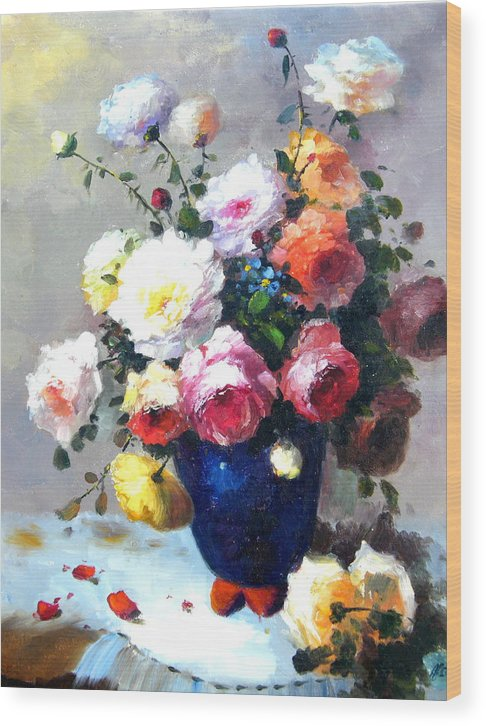 Still Life Flowers Wood Print featuring the painting Blue Vase by Imagine Art Works Studio