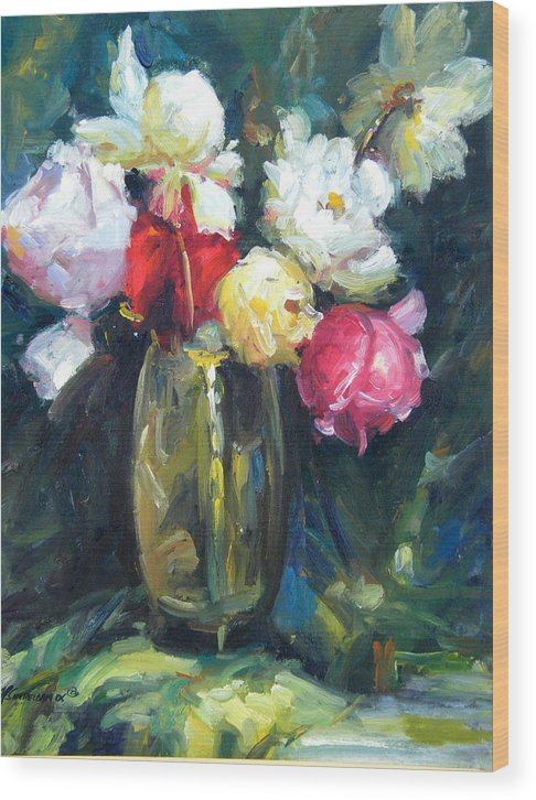 Flowers Wood Print featuring the painting Brass Vase by Imagine Art Works Studio
