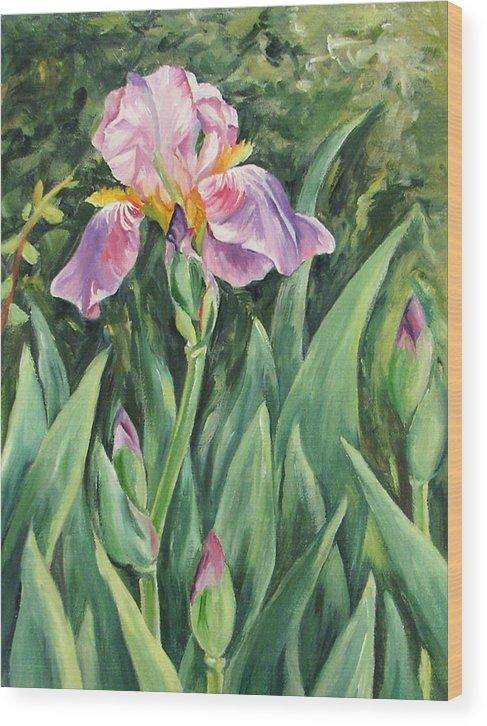 Irises Wood Print featuring the painting Irises by Cheryl Pass