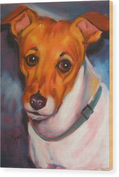 Jack Russel Painting Wood Print featuring the painting Jack Russell Terrier by Kaytee Esser