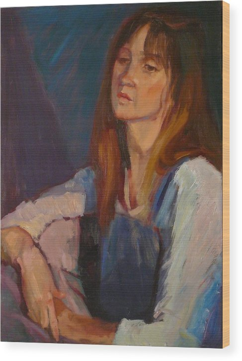 Pensive Girl Wood Print featuring the painting sold Kerri by Irena Jablonski