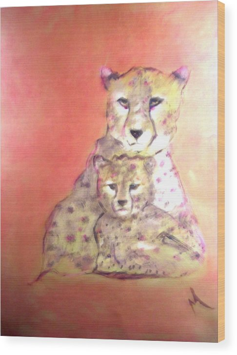Wildlife Wood Print featuring the painting Leopard Love by Michela Akers