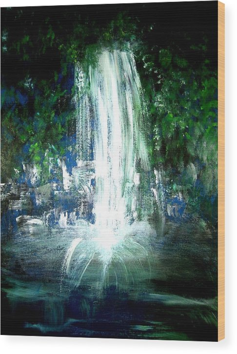 Waterfall Wood Print featuring the painting Water Falling by Michela Akers