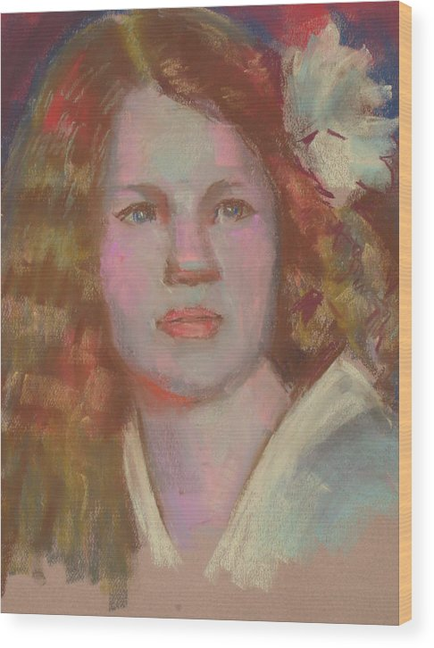 This Pastel Protrait Was Created In Low Wood Print featuring the pastel Young Girl With Flower In Her Hair by Pamela Preciado