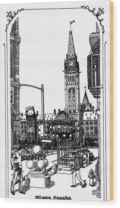 Cityscape Wood Print featuring the mixed media Peace Tower Parliament Hill Ottawa 1995 by John Cullen