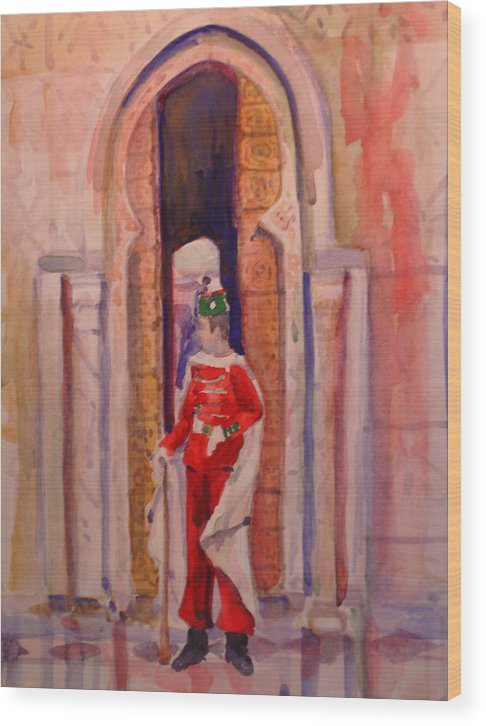 Figure Wood Print featuring the painting Moroccan Soldier by Joyce Kanyuk