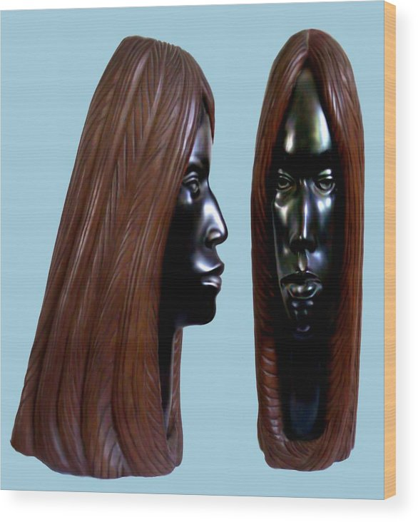 Wood Wood Print featuring the sculpture Black Beauty by Jorge Gomez Manzano