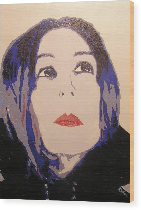 Portrait Wood Print featuring the painting Beauty Beyond The Blue by Ricklene Wren