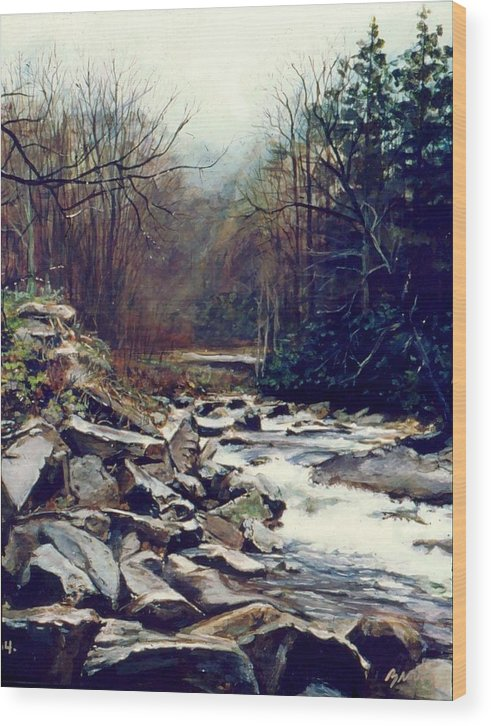 Landscape Wood Print featuring the painting Cherokee Stream by William Brody