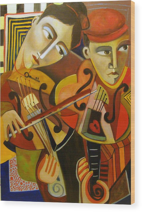 Music Violins Romance Man Woman Wood Print featuring the painting Duo Romantico by Niki Sands