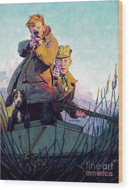 Rockwell Wood Print featuring the painting His First Duck by Norman Rockwell