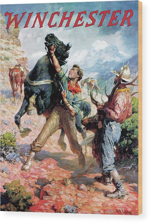 Cowboys Wood Print featuring the painting Hold Em Steady by W R Leigh