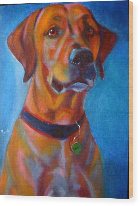 Dog Portraits Wood Print featuring the painting Miss Lucy by Kaytee Esser