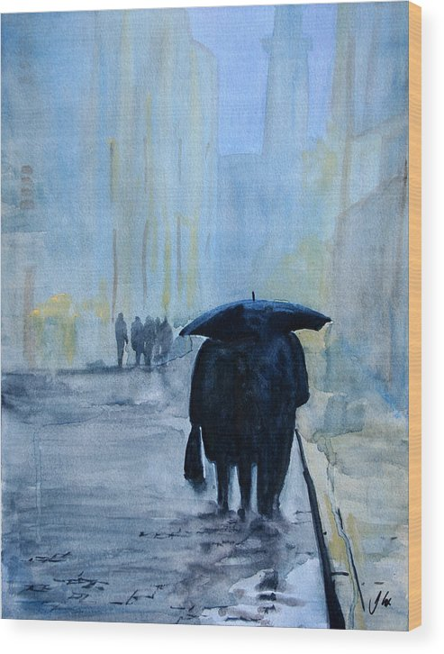City. Raining. Figure. Evening. Wood Print featuring the painting Rainy Evening Walk. by John Cox