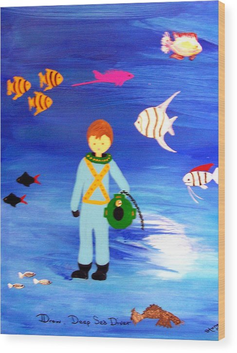 Children\\ Wood Print featuring the painting Sea Diver by Sandi Stonebraker