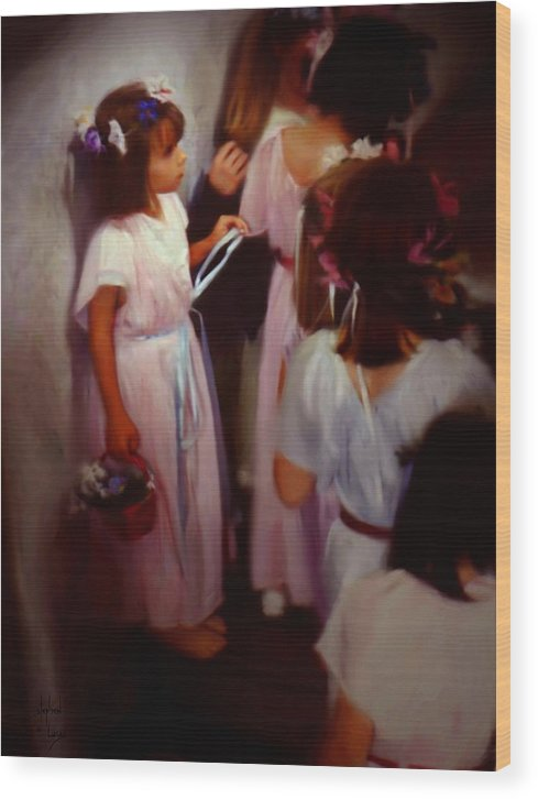 Children Wood Print featuring the painting The Fisrt May Day Dance by Stephen Lucas