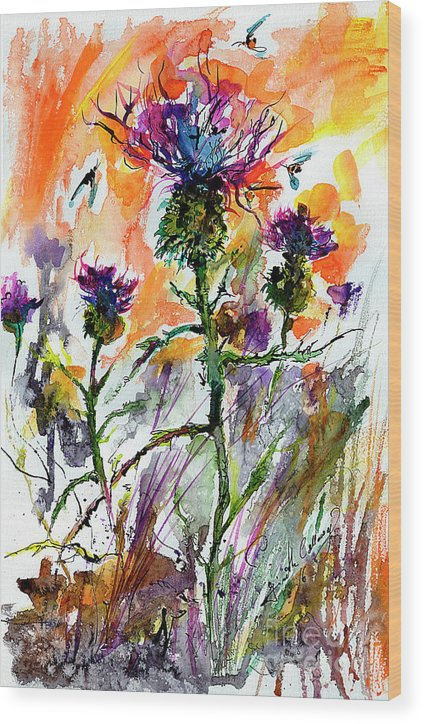 Thistles Wood Print featuring the painting Thistles And Bees Watercolor And Ink by Ginette Callaway