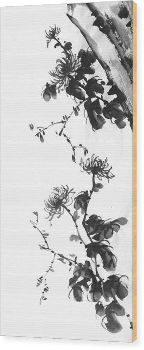 Japanese Wood Print featuring the painting Chrysanthemum With Stone by Chang Lee
