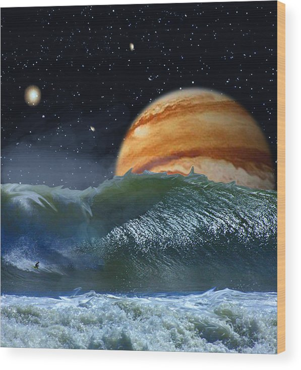 David Jackson Running The Vortex Surfing Alien Landscape Planets Scifi Wood Print featuring the digital art Running The Vortex by David Jackson