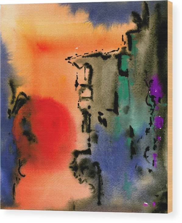 Watercolor Prints Abstract Painting Watercolor Painting Modern Print Contemporary Print Gouache Wood Print featuring the painting Sunset At Nikko by Ralf M Broughton