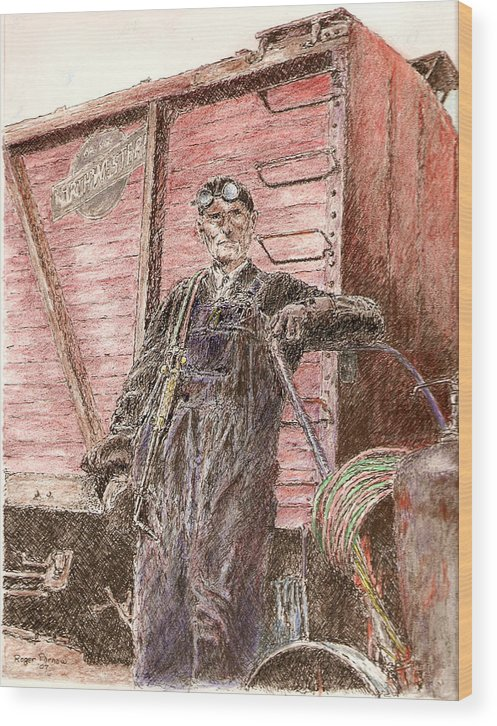 Welder Wood Print featuring the painting Welder by Roger Parnow