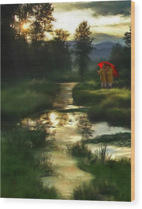 Boys Wood Print featuring the digital art After Morning Rain by Stephen Lucas