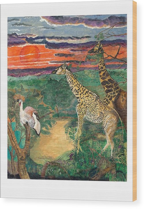Giraffe Wood Print featuring the painting Giraffe's Gallop by Everna Taylor