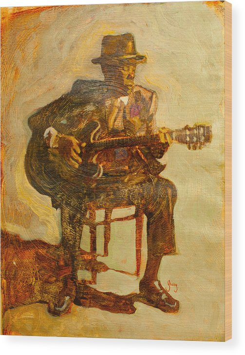 John Lee Hooker Wood Print featuring the painting John Lee Hooker by Michael Facey