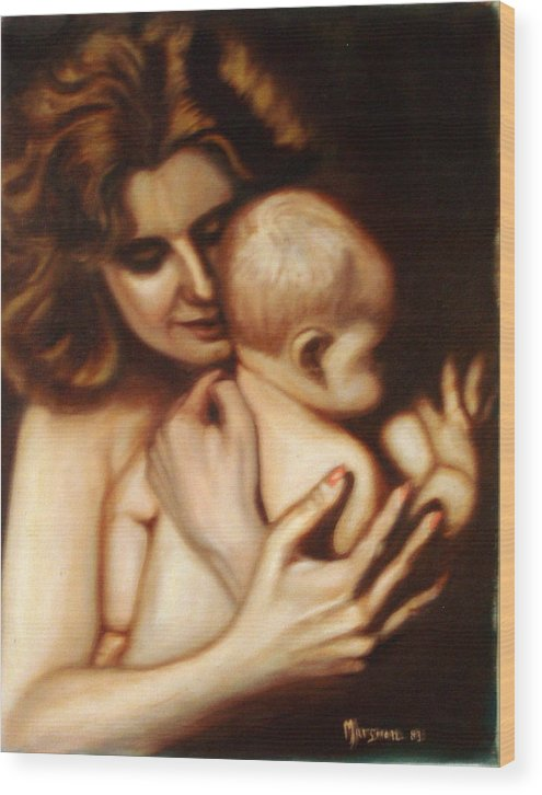 Portrait Wood Print featuring the painting Maternal Love by Lia Marsman