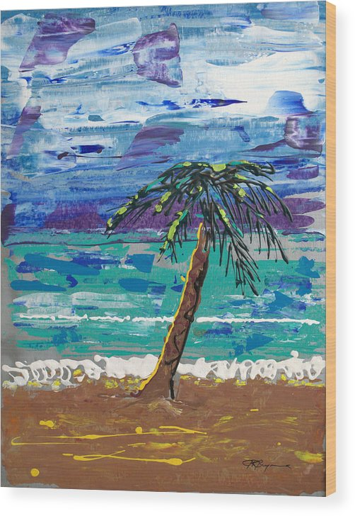 Palm Tree Wood Print featuring the painting Palm Beach by J R Seymour