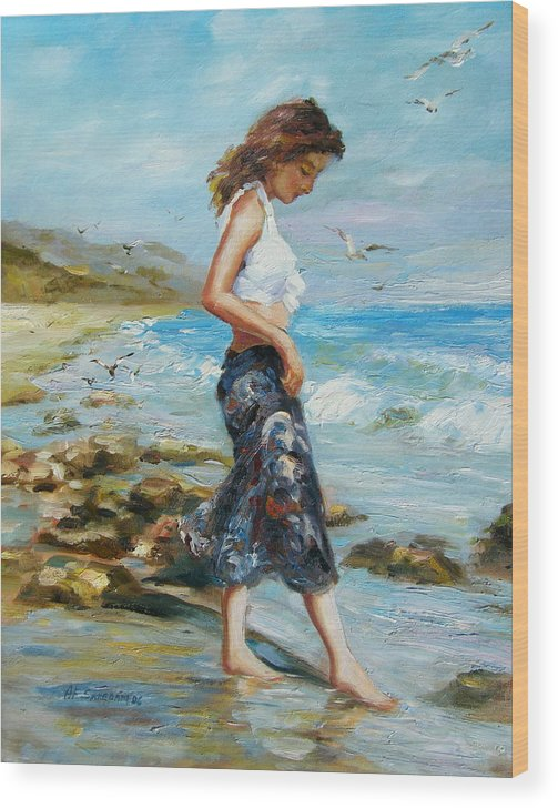 Seascape Wood Print featuring the painting Pondering Too by Imagine Art Works Studio