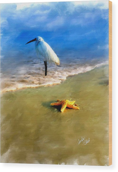Egret Wood Print featuring the digital art Storm Watcher by Carolyn Staut