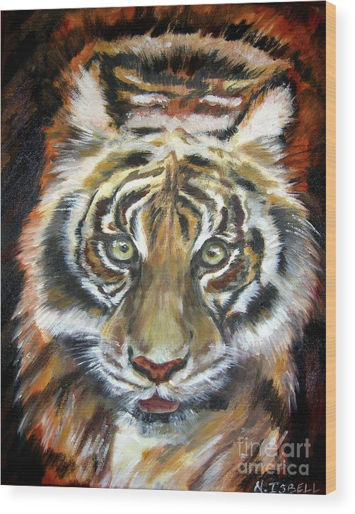 Tiger Wood Print featuring the painting Tiger by Nancy Isbell