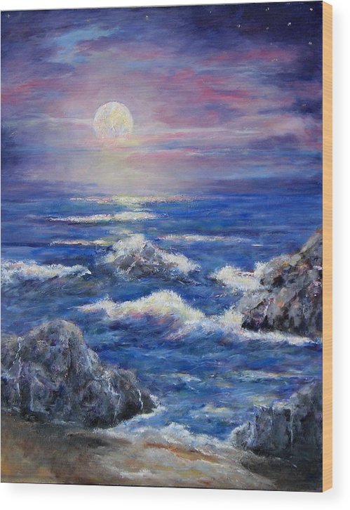 Full Moon On The California Coast Wood Print featuring the painting Tranquility by Thomas Restifo
